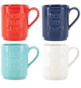 Kate Spade Red Orange Turquoise Blue White All In Good Taste Stackable Mugs Set Of 4 Multi