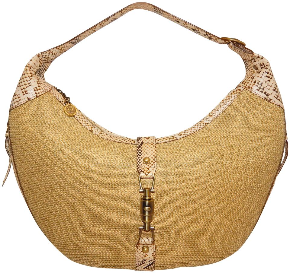 b8364bdf169d Eric Javits Snake Leather Large Natural Straw Shoulder Bag - Tradesy