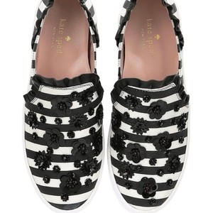 691fc569b4c0 Kate Spade Striped Embellished Ruffle Floral Black White Crystal Flats