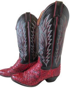 Justin Boots Cowgirl Red Snake Skin and Black Leather Boots
