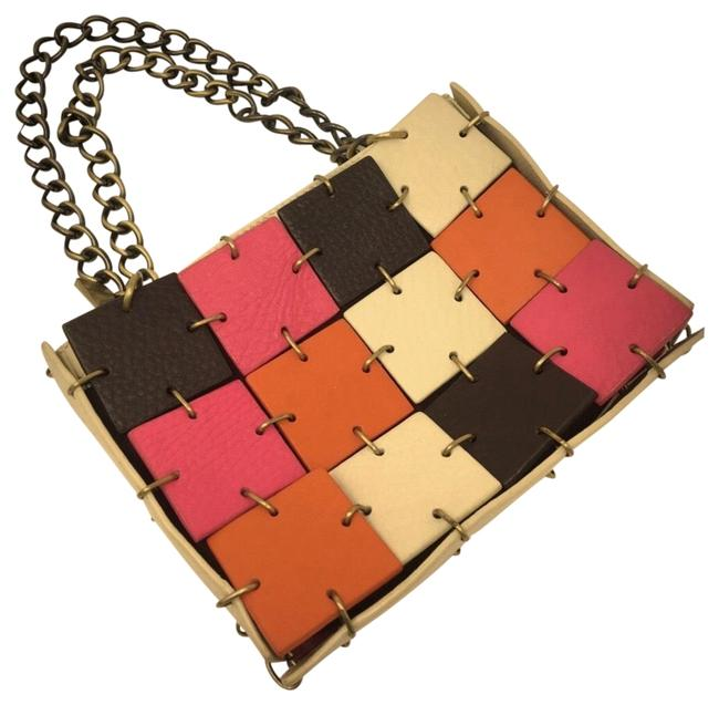 Item - Color-block Chain Purse Cream Pink Orange and Chocolate Brown. Leather Clutch