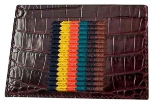 Paul Smith NEW Paul Smith woven Stripe Croc Embossed Leather Card case holder