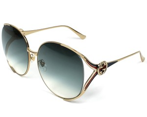 bcde2804f28 Gucci NEW Gucci 0225S Blue Gradient Gold Oversized Metal Cutout Sunglasses