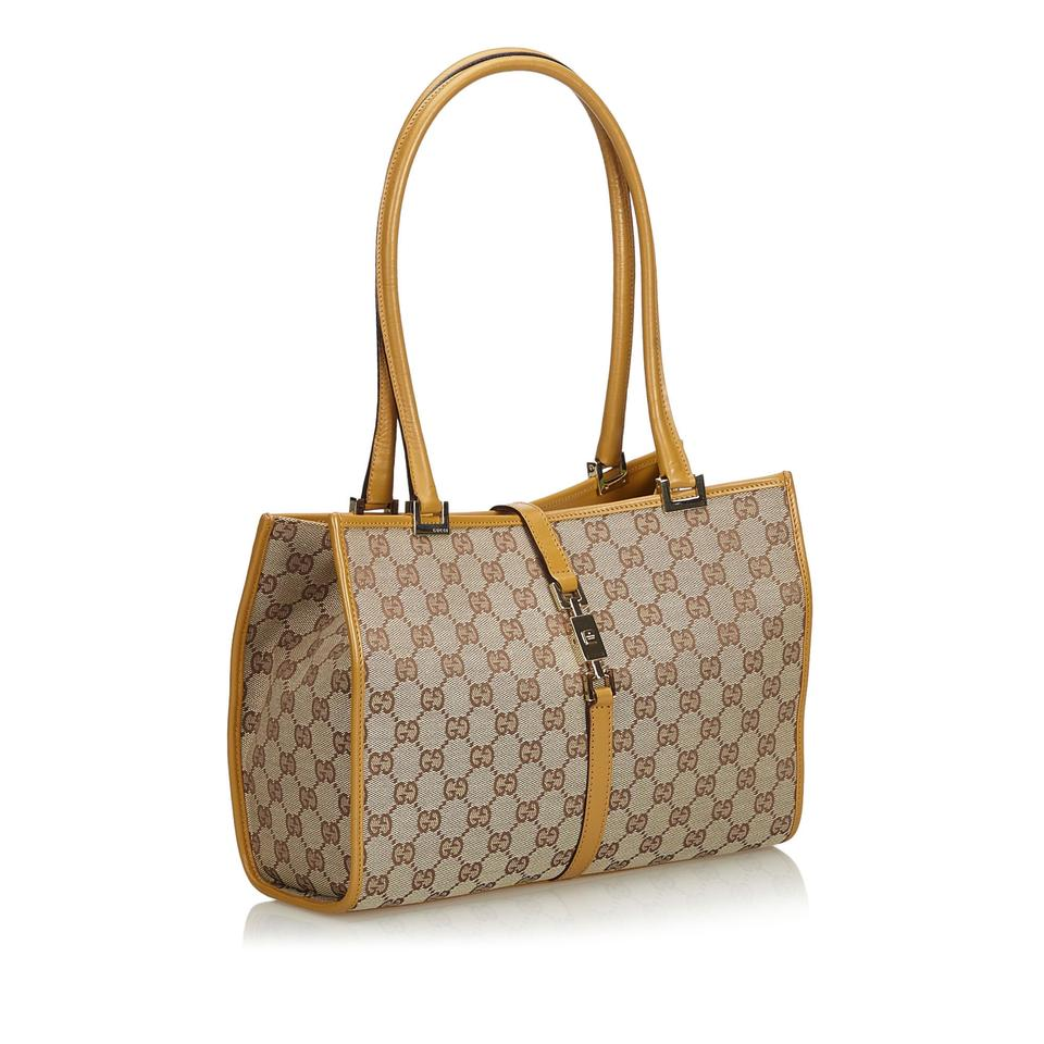 02c9e33be8be Gucci Jackie Beige Jacquard Fabric Gg Italy Brown Blend Leather ...