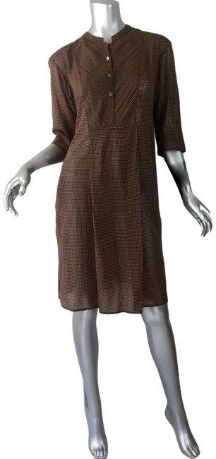 Item - Brown Gingham Cotton Mid-length Short Casual Dress Size 8 (M)