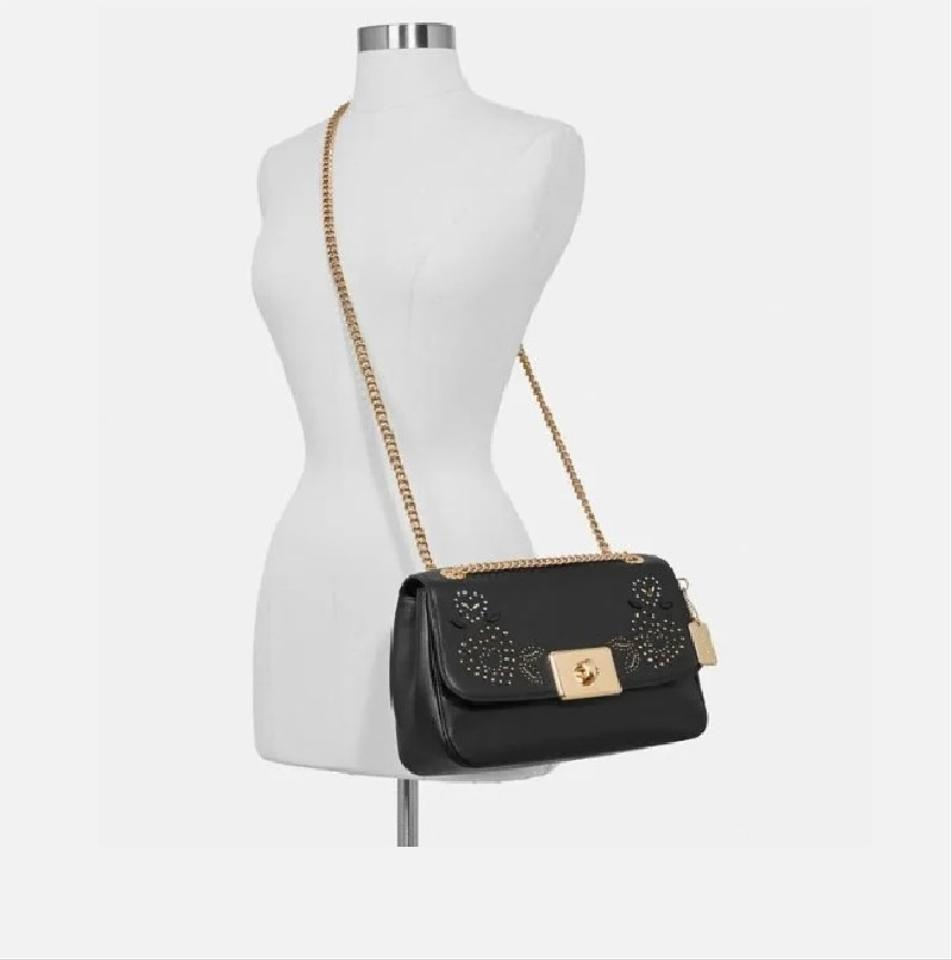 check out outlet store enjoy complimentary shipping Coach Crossbody Large Cassidy with Heart Bandana Rivets Black Leather  Shoulder Bag 60% off retail
