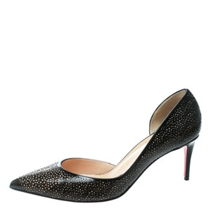 Christian Louboutin Two-tone Patent Leather Pointed Toe Black Pumps