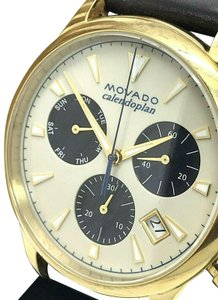 Movado Movado Heritage Series Calendoplan Swiss Black Leather Mens Watch