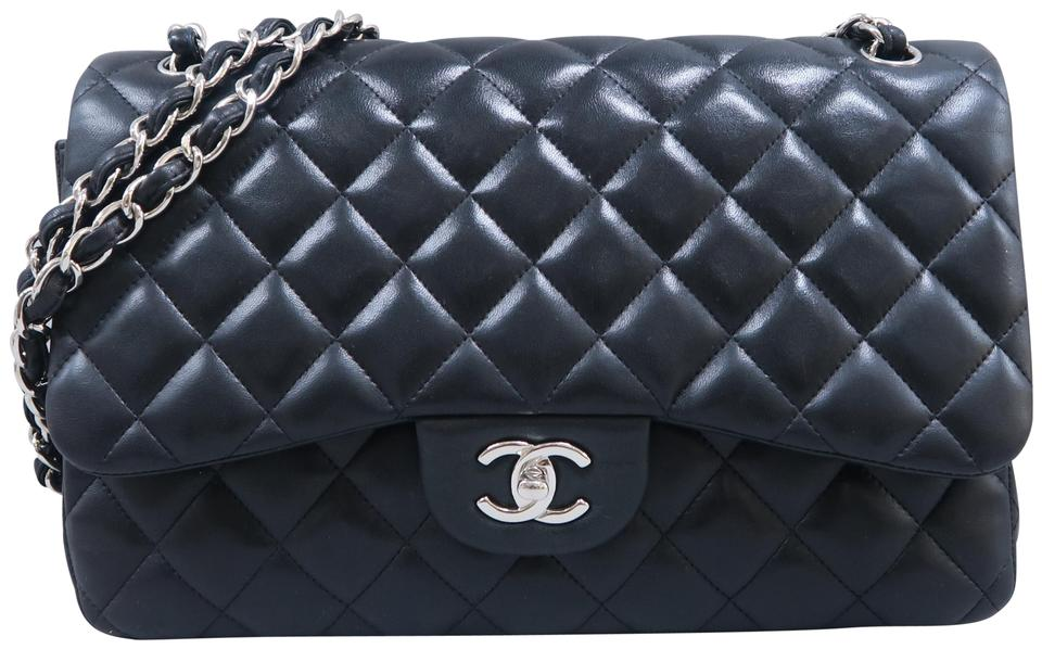 dfc6164d78 Chanel Classic Flap Jumbo Double Leather Black Lambskin Shoulder Bag ...