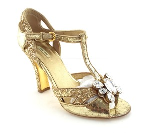 Miu Miu Crystal Open Toe Dance Course Gold Pumps