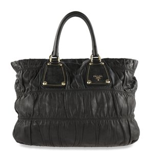 Prada Gathered Leather Quilted Large Tote in Black