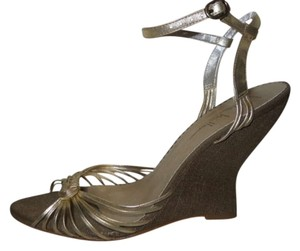 Nicole Miller Leather gold Wedges