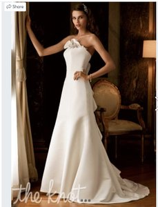 0bd73263d7b David s Bridal Ivory Satin Galina Signature Model Swg9905 Traditional Wedding  Dress Size 2 ...