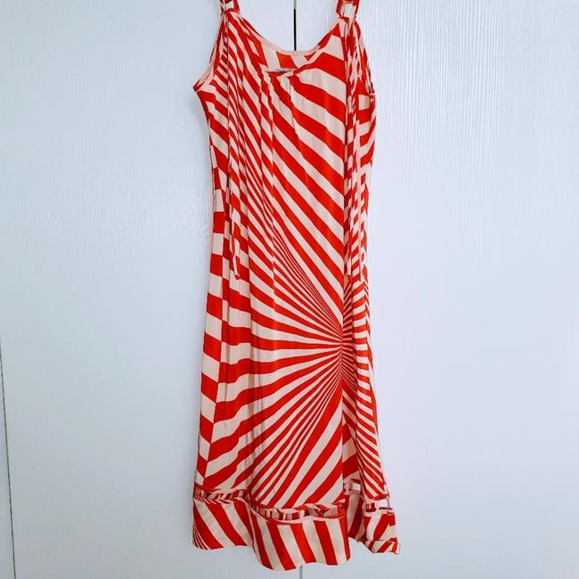 Item - Burnt Orange and White Silk Sundress Short Casual Dress Size 12 (L)