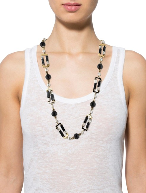 Item - Black and White Scepter Art Deco Long Statement Necklace