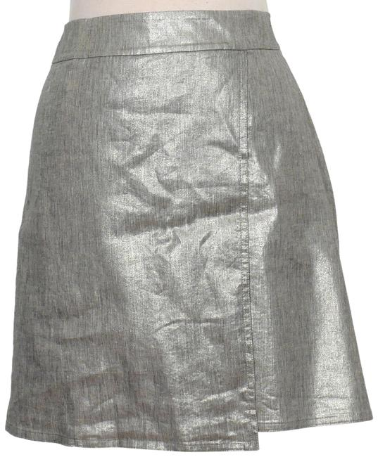 Item - Silver Gray L Glimmer Linen Stretch Faux Wrap Shimmer Skirt Size 12 (L, 32, 33)