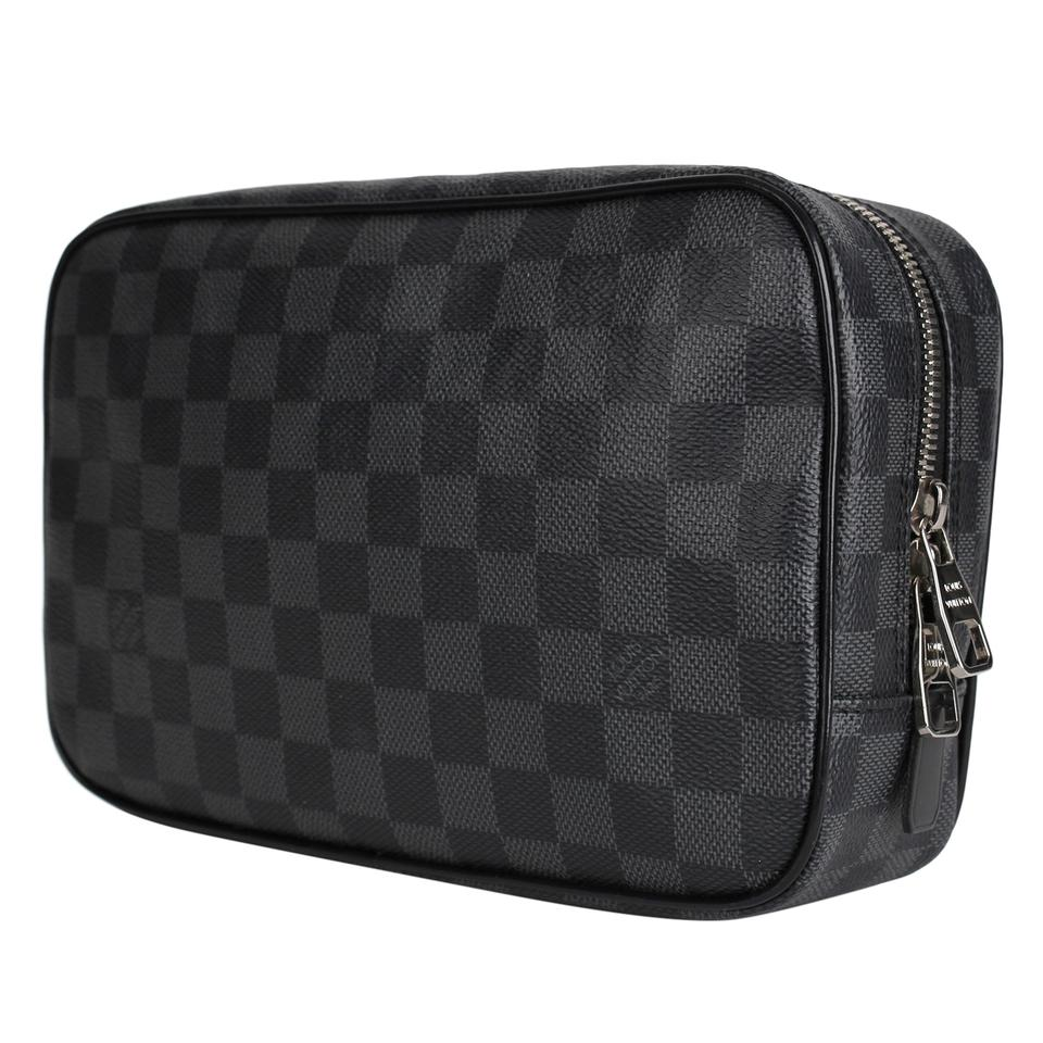 6d6612d2 Louis Vuitton Gray Damier Graphite Toilet Pouch Gm King Dopp Travel Kit  7321 Cosmetic Bag 21% off retail