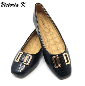 Victoria K Wedge Loafers Slip-ons Driveable Black Flats