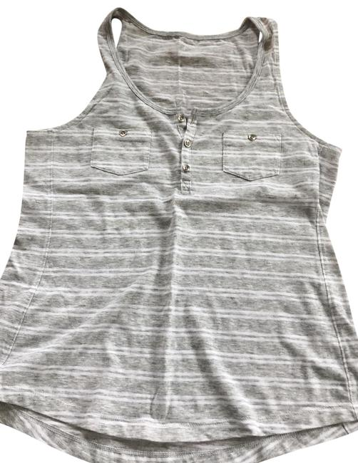 Item - Grey and White Stripe Tank Top/Cami Size 4 (S)