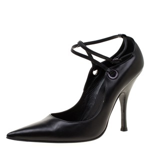 51b88f9a6e1 Casadei Leather Pointed Toe Ankle Strap Black Pumps
