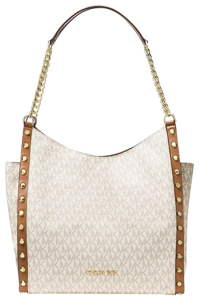 Michael Kors Hobo Newbury Medium Studded Mk Signature Logo Chain Tote Satchel Vanilla Coated Twill W Leather Trim Shoulder Bag 32% off retail