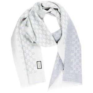 Gucci Gucci GG Jacquard Knit Wool Scarf Reversible Light Grey Ivory SOLD OUT
