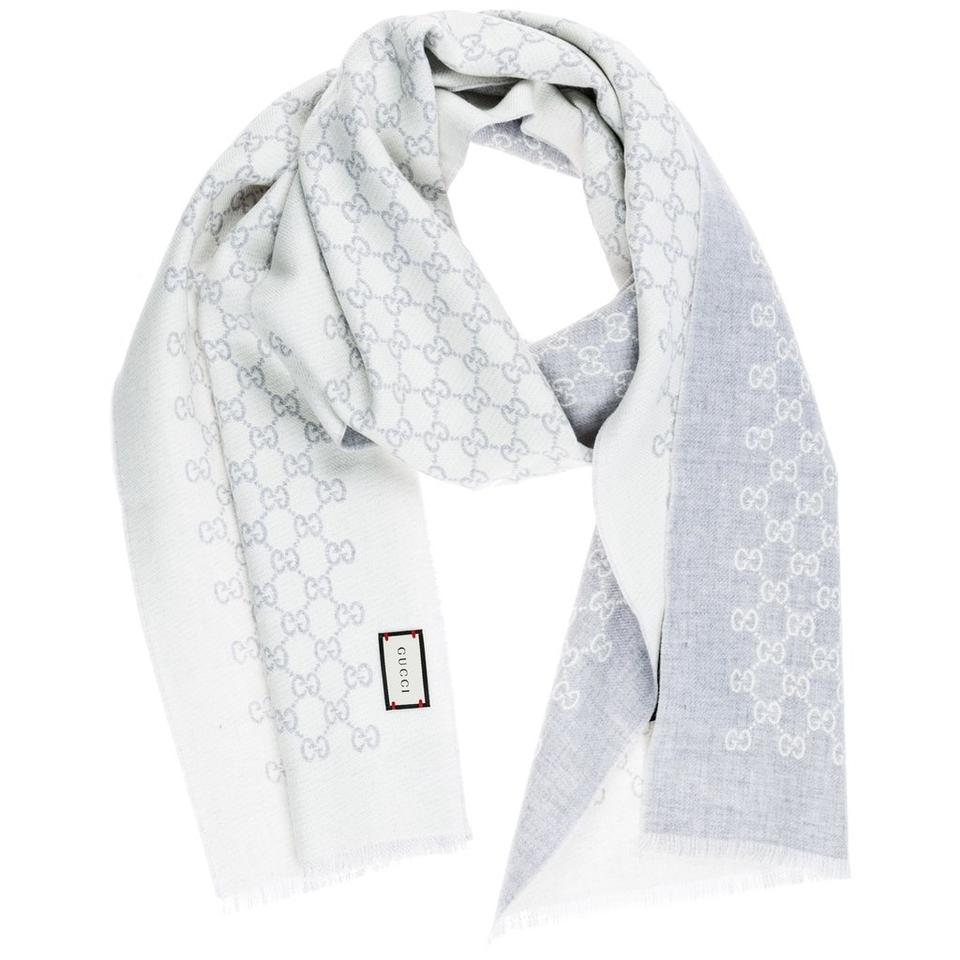 c47dceb24b7 Gucci Gucci GG Jacquard Knit Wool Scarf Reversible Light Grey Ivory SOLD  OUT Image 0 ...