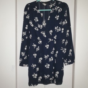 Honey Punch short dress Navy, white flowers on Tradesy