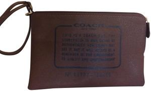 Coach Cosmetic Brown Canvas Wristlet in tobacco