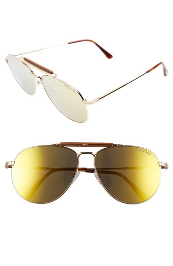 Tom Ford NEW Tom Ford Sean Gold Mirrored Leather Bar Aviator Sunglasses Image 1