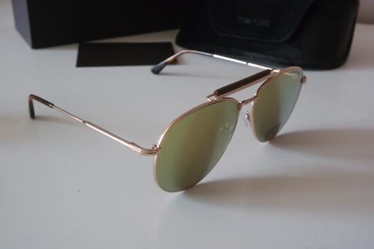 Tom Ford NEW Tom Ford Sean Gold Mirrored Leather Bar Aviator Sunglasses Image 7