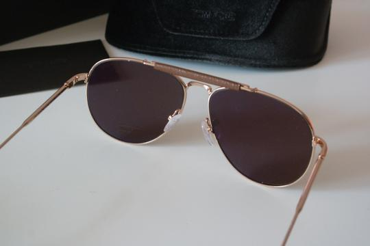 Tom Ford NEW Tom Ford Sean Gold Mirrored Leather Bar Aviator Sunglasses Image 8
