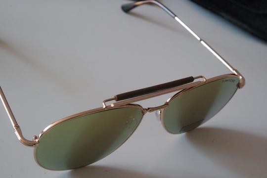 Tom Ford NEW Tom Ford Sean Gold Mirrored Leather Bar Aviator Sunglasses Image 9