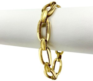 Other 14k Yellow Gold 21.8g Fancy Oval Link Chain Bracelet Italy 7.25 Inches
