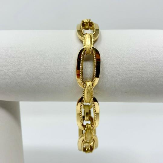 Other 14k Yellow Gold 21.8g Fancy Oval Link Chain Bracelet Italy 7.25 Inches Image 1