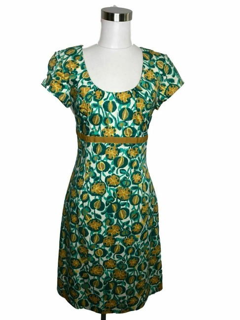 Item - Teal Yellow Green N73 Designer Small Grapefruit Short Casual Dress Size 6 (S)