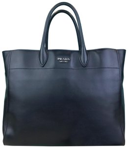 Prada Two Leather Large Tote in Black