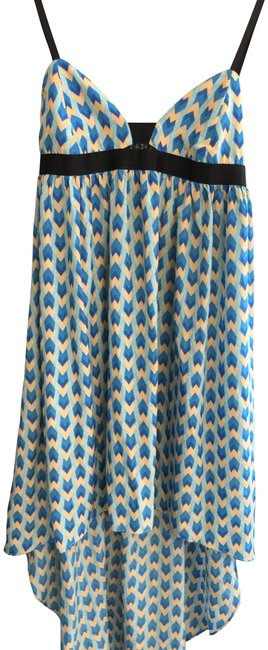Item - Blue/Light Blue/Tan Geometric Print Asymmetrical Mid-length Short Casual Dress Size 8 (M)