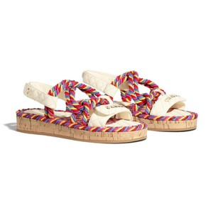Chanel Cord Multicolor/Ivory Sandals