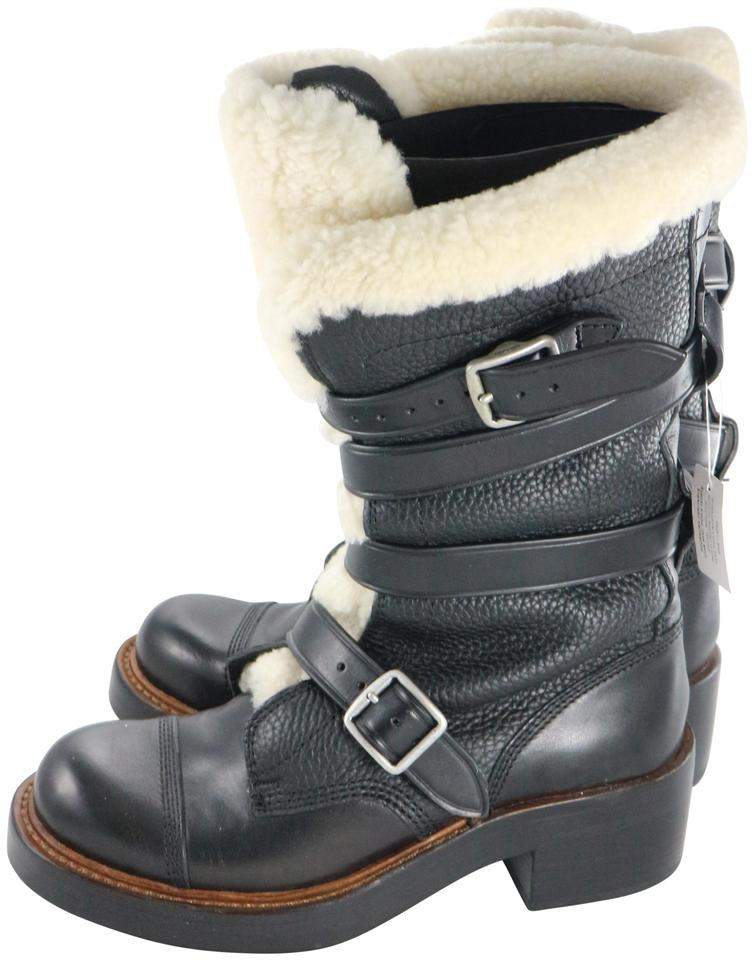 5c52a8488713f Coach Black Moto Shearling Pebbled Leather Buckle Boots/Booties Size US 5  Regular (M, B) 52% off retail