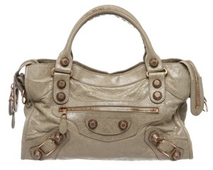 Balenciaga City Cream Satchel in 490353 Gray Green Papryus