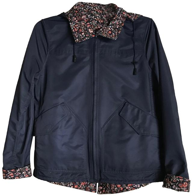 Item - Blue W Blue/Floral Reversible W/Removeable Hood In Jacket Size 2 (XS)