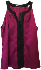 Tahari Fuchsia Trim Shell Size Sp Small Petite New With Tags Top Pink and Black