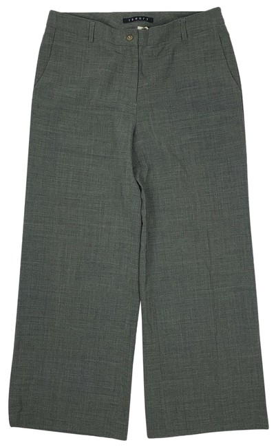 Item - Gray Dress Pants Wool Women 8 Cropped Culotte Trouser/Wide Leg Jeans Size 32 (8, M)