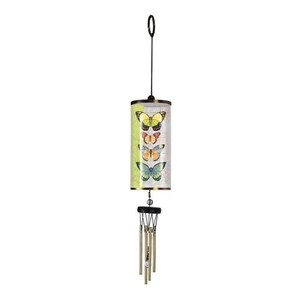 White and Green Butterflies Cylinder - Wind Chime Decoration