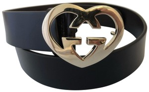 Gucci Brown Belt with Gold Toned GG Heart Buckle