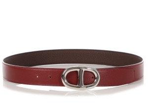 8be07422c7fe Hermès ROUGE H AND CHOCOLATE BROWN REVERSIBLE LEATHER BELT KIT 32MM