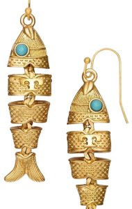 Tory Burch NEW TORY BURCH GOLD FISH HOOK DANGLE DROP EARRINGS NWT DUST BAG