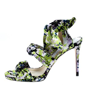 Jimmy Choo Floral Print Satin Leather Multicolor Sandals