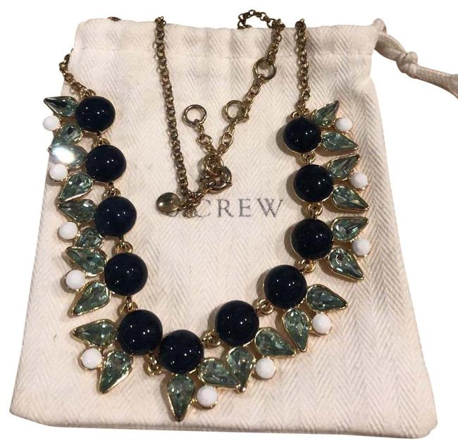 Item - Navy Aqua White With Dust Back Necklace